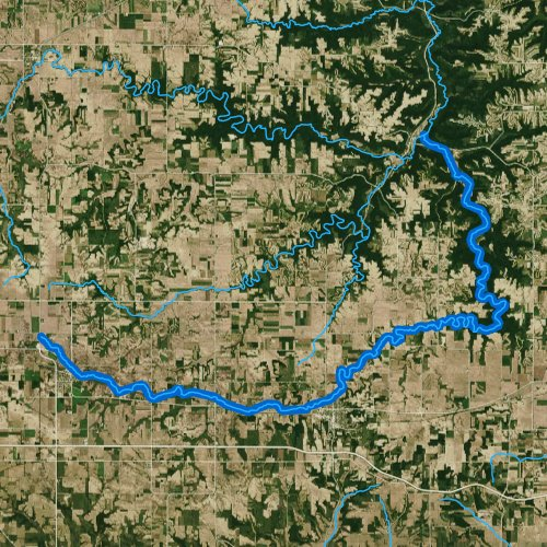 Fly fishing map for South Fork Whitewater River, Minnesota