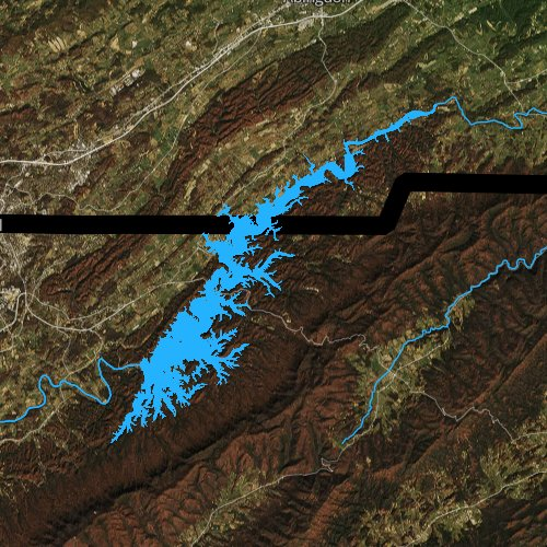 Fly fishing map for South Holston Lake, Tennessee