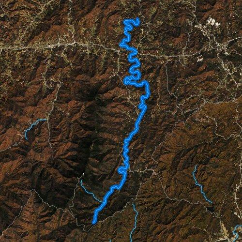 Fly fishing map for South Toe River, North Carolina