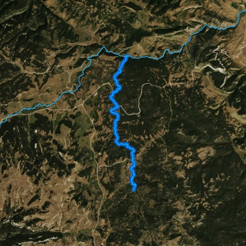 Fly fishing map for South Tongue River, Wyoming