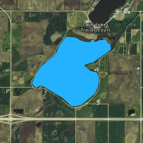 Fly fishing map for South Twin Lake, Iowa