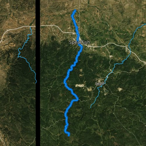 Fly fishing map for Spearfish Creek, South Dakota
