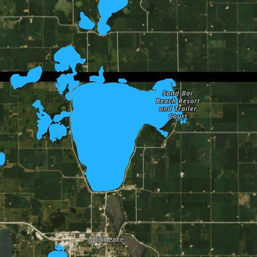 Fly fishing map for Spirit Lake, Iowa