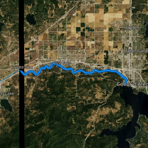 Fly fishing map for Spokane River, Idaho