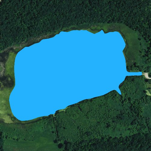 Fly fishing map for Spring Lake: Green Lake, Wisconsin