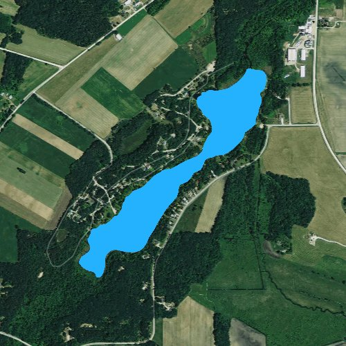 Fly fishing map for Spring Lake: Waushara, Wisconsin