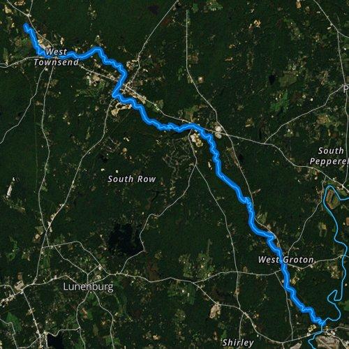 Fly fishing map for Squannacook River, Massachusetts