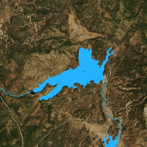 Fly fishing map for Stampede Reservoir, California