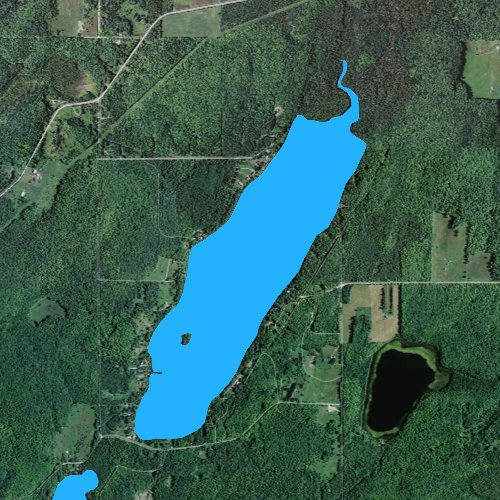 Fly fishing map for Stanley Lake: Iron, Michigan