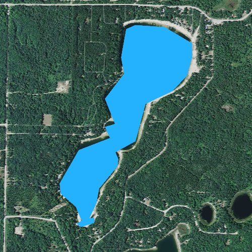 Fly fishing map for Starvation Lake, Michigan