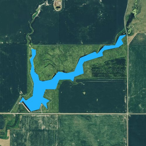 Fly fishing map for Staum Dam, South Dakota