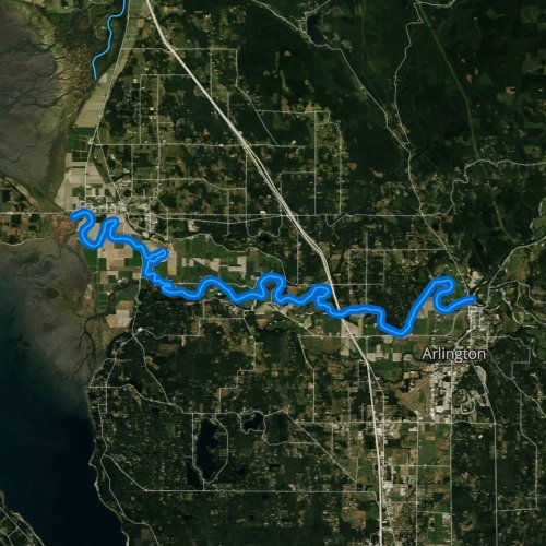 Fly fishing map for Stillaguamish River, Washington