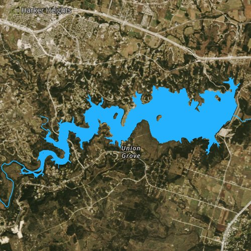 Fly fishing map for Stillhouse Hollow Lake, Texas