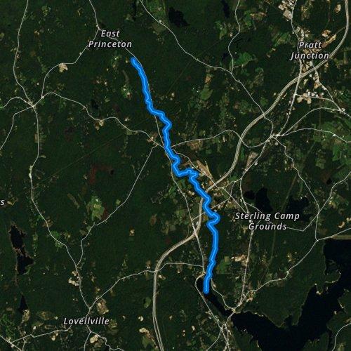 Fly fishing map for Stillwater River, Massachusetts