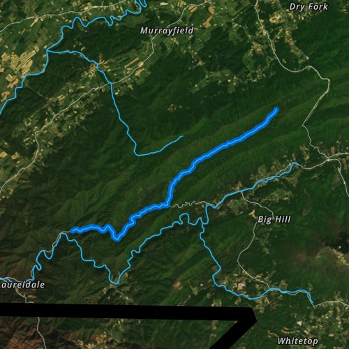 Fly fishing map for Straight Branch, Virginia