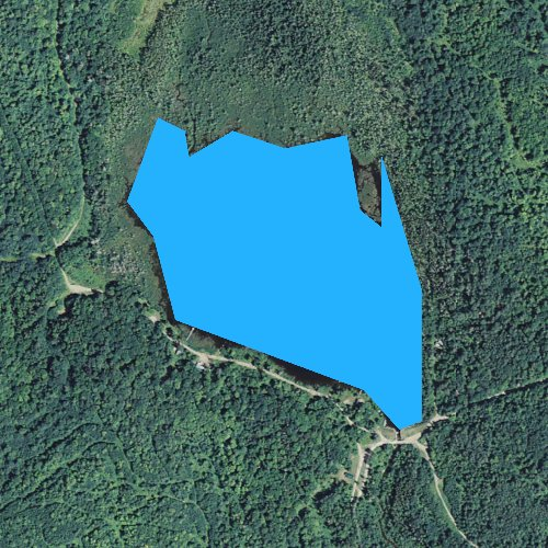 Fly fishing map for Stratford Bog Pond, New Hampshire