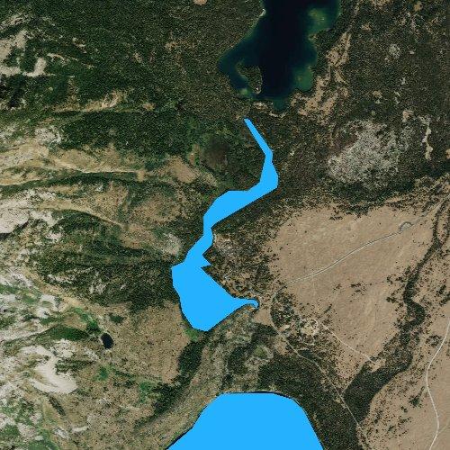 Fly fishing map for String Lake, Wyoming