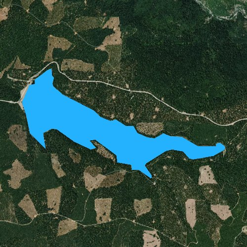 Fly fishing map for Stumpy Meadows Reservoir, California