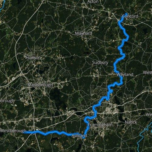 Fly fishing map for Sudbury River, Massachusetts