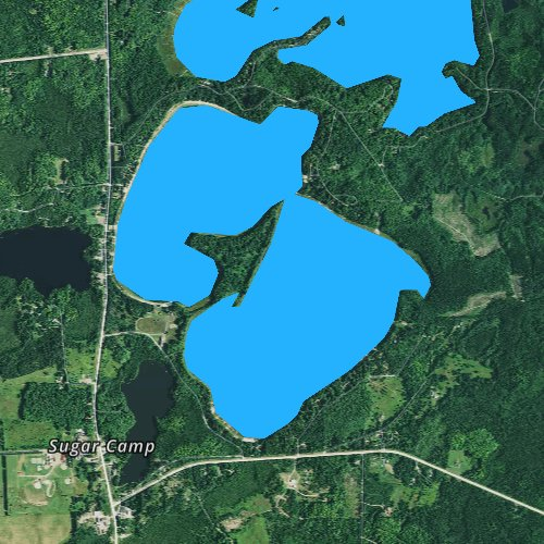 Fly fishing map for Sugar Camp Lake, Wisconsin