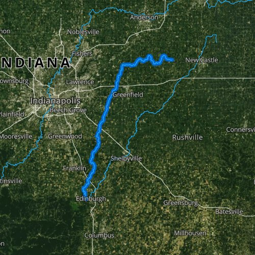 Fly fishing map for Sugar Creek, Indiana