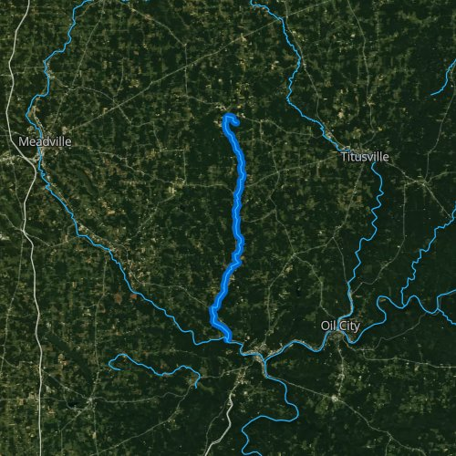 Fly fishing map for Sugar Creek, Pennsylvania