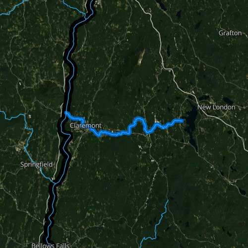 Fly fishing map for Sugar River, New Hampshire