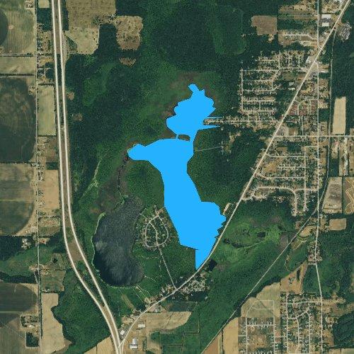 Fly fishing map for Sugarloaf Lake, Michigan