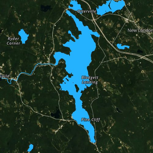 Fly fishing map for Sunapee Lake, New Hampshire