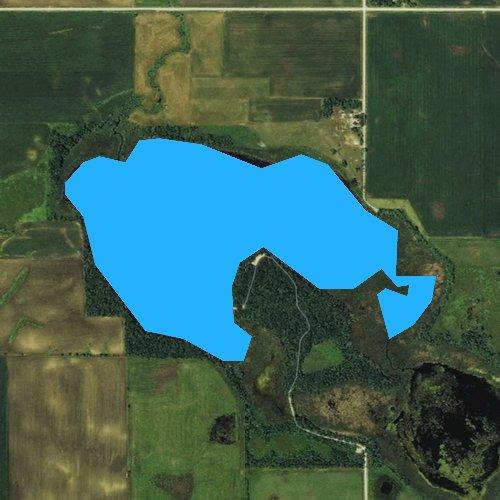 Fly fishing map for Sunken Island Lake, Iowa