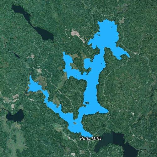 Fly fishing map for Sunken Lake, Maine