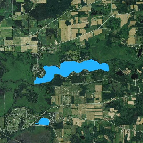 Fly fishing map for Swan Lake, Wisconsin