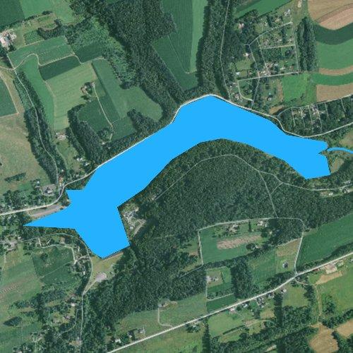 Fly fishing map for Sweet Arrow Lake, Pennsylvania