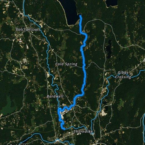 Fly fishing map for Swift River, Massachusetts