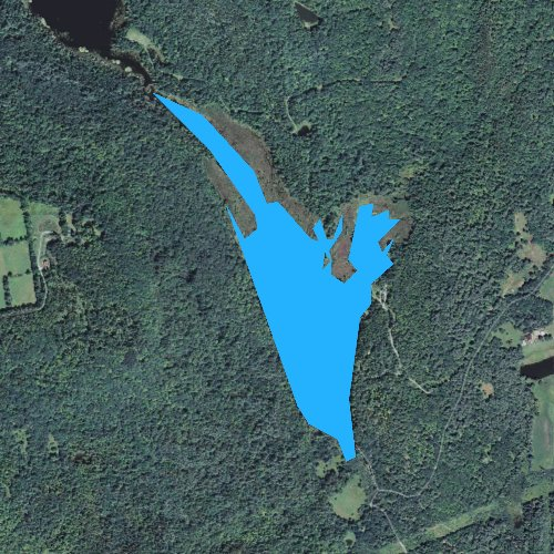 Fly fishing map for Symes Pond, Vermont