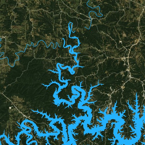 Fly fishing map for Table Rock Lake, Missouri