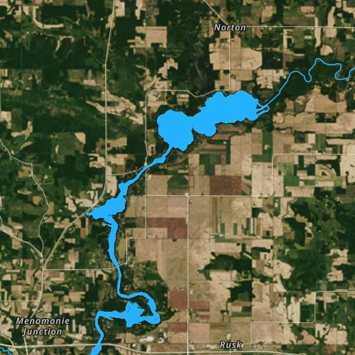 Fly fishing map for Tainter Lake, Wisconsin