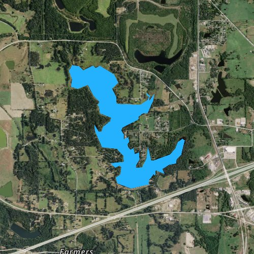Fly fishing map for Tankersley Lake, Texas