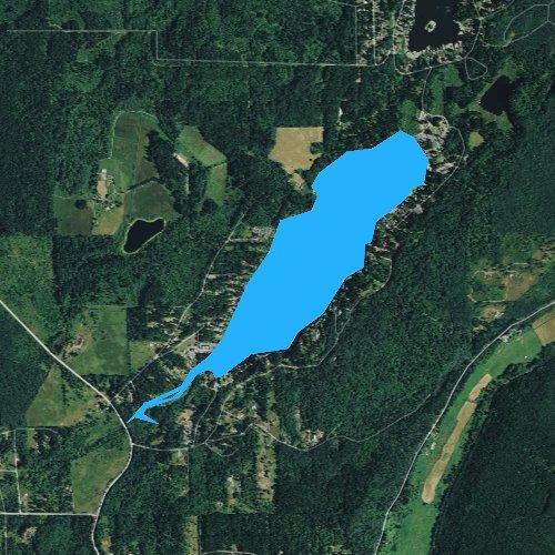 Fly fishing map for Tanwax Lake, Washington