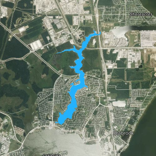 Fly fishing map for Taylor Lake, Texas