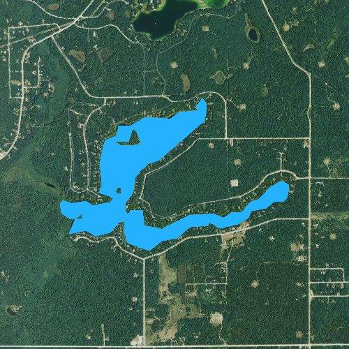 Fly fishing map for Tea Lake, Michigan