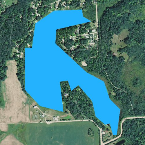 Fly fishing map for Tee Lake, Michigan