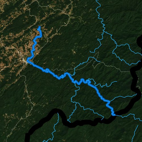 Fly fishing map for Tellico River, Tennessee
