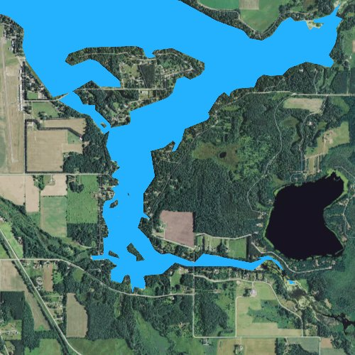 Fly fishing map for Tenmile Lake, Wisconsin