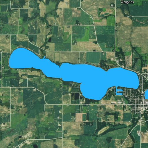 Fly fishing map for Tetonka Lake, Minnesota