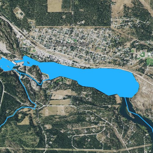Fly fishing map for Thompson Falls Reservoir, Montana