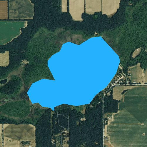 Fly fishing map for Thompson Lake, Michigan