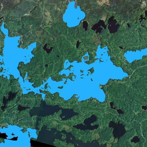 Fly fishing map for Thousand Island Lake, Michigan