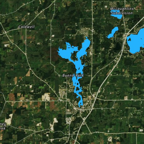 Fly fishing map for Tichigan and Buena Lakes 359, Wisconsin