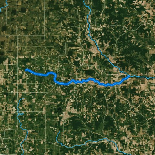 Fly fishing map for Tiffany Creek, Wisconsin